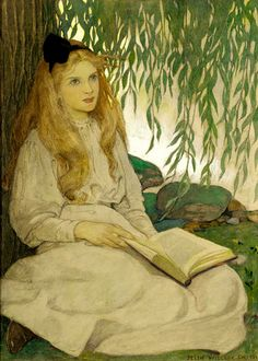 With Thoughtful Eyes by Jessie Willcox Smith Watercolor and white gouache over charcoal on illustration board, 21 by 16 inches. Pennsylvania Academy of the Fine Arts, Philadelphia, gift of the Estate of Jessie Willcox Smith. Reading Art, Woman Reading, American Illustration, Children's Book Illustration, Fairy Tale Illustrations, Vintage Illustrations, Botanical Illustration, Jessie Willcox Smith, Robert Duncan