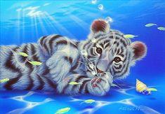 Mother Ocean 9 - White tiger, Fish by Kentaro Nishino
