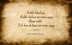 Poetry quotes - 15 Lyrical Gems By Sahir Ludhianvi That Every Poetry Lover Would Want To Bookmark Love Song Quotes, First Love Quotes, Poetry Quotes, Lyric Quotes, Hindi Quotes, Life Quotes, Status Quotes, Crush Quotes, Quotes Quotes