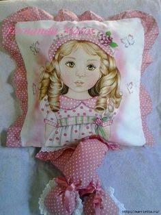 by Fernanda Matos Kids Pillows, Throw Pillows, Chinese Painting Flowers, Doll Face, Fabric Painting, Cushion Covers, Decoration, Decorative Pillows, Decoupage