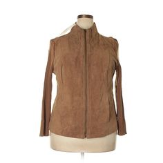 Jessica London Leather Jacket ($41) ❤ liked on Polyvore featuring outerwear, jackets, tan, 100 leather jacket, brown leather jackets, real leather jackets, leather jackets and tan jacket