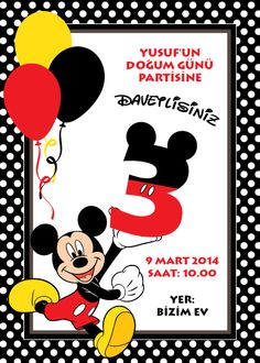 Yusuf'un Mickey Mouse temalı doğum günü davetiyesi