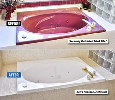 Is your tub and tile seriously outdated, but you love the shape and size of them? Bathtubs are expensive to tear-out and replace, especially garden or Jacuzzi tubs. There's the cost of demolition, plumbing, flooring, tile setting, the new tub, the list goes on. The good news is that Miracle Method can refinish right over the tub and tile while it's still in place! There is no need to tear out perfectly good fixtures and dump them in a landfill.