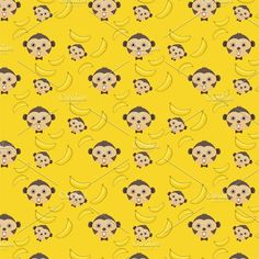 Vector seamless background of monkey and banana seamless pattern wallpaper with clipping mask Monkey And Banana, Seamless Background, Pattern Wallpaper, Bananas, Vectors, Kids, Collage, Fictional Characters, Patterns