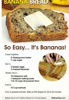 Homemade easy recipe for banana nut bread