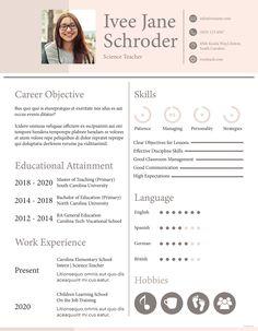 sample resume for teacher Template Cv, Student Resume Template, Resume Templates, Resume Pdf, Resume Format In Word, Resume Format Download, Cv Format, Teaching Resume Examples, Good Resume Examples