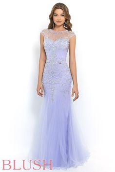 Look like royalty in this classy fit & flare. Strapless satin sweetheart sheath with a fully beaded overlay of soft tulle. The overlay features a bateau style neckline, cap sleeves, and a bodice completely covered with beads and crystals in a unique lattice and vine pattern collaboration. Side zipper closure. Available in Lilac and Pool.
