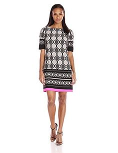 Eliza J Women's Printed Shift Dress One piece geometric printed shift dress with color pop at hemlineElbow length sleeveExposed center back zipper  Dresses, outfits, outfits for girls, outfits for school, outfits for winter 2017, outfits for women, outfits with jeans and boots, strapless dresses