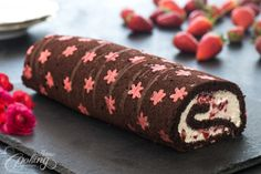 Chocolate Strawberry Swiss Roll :: Home Cooking Adventure