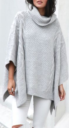 Oversized roll neck, cable knit poncho in grey. You will live in this poncho through the winter. Dress it up or dress it down and still look adorable and comfortable! BELLS OUT PONCHO Loose Sweater, Poncho Sweater, Knitted Poncho, Grey Sweater, Pullover Sweaters, Cozy Knit, Cozy Sweaters, Poncho Cape, Poncho Outfit