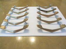 10 Vtg Gold AJAX Drawer Pulls/Handles Boomerang/Chevron w/ Patina Mid Century