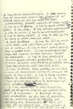 """A page from Kurt Cobain's Journals. """"I like to fill my mouth with seeds and spit them out at random as I walk"""""""