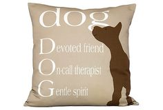 Dog lovers will delight in this cotton-linen pillow. The front features a charming pooch and a list of just a few of your favorite canine's best attributes; the back is solid black cotton canvas. The plush feather-and-down fill ensures that the cushion is as comfortable as it is chic. Zipper closure.