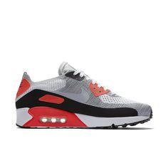 Nike Men's Air Max 90 Ultra 2.0 Flyknit ( White/Bright Crimson/Black/Wolf Grey )