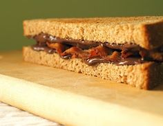 Bacon Nutella Sandwich.  No recipe needed.  Just the knowledge that it is sweet.  And salty.  Smoky.  And chocolatey.  Amazing.  From the Unrepentant Carbivore.