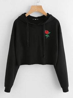 SweatyRocks Black Embroidered Rose Patch Active Wear Hoodie Long Sleeve Autumn Crop Top Women Streetwear Sporting Sweatshirt - black,m Teen Fashion Outfits, Outfits For Teens, Trendy Fashion, Girl Fashion, Girl Outfits, Ootd Fashion, Fashion Styles, Fashion Brands, Tumblr Outfits