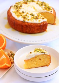 Zesty and fresh, Orange Semolina Cake topped off with natural greek yoghurt and pistachios for crunch.