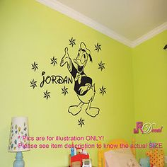 Disney Donald Duck Vinyl Wall Sticker Decal Mural Personalized Name Kids room d2 for £6.99 + FREE Shipping to the UK.   Available in 5 different sizes, 16 color option and your kids name in 27 different writing style!