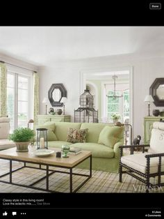 Pretty Green Rooms Living Room Area Home