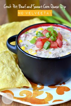 Crock Pot Beef and Sweet Corn Queso Dip (No Velveeta!) | iowagirleats.com
