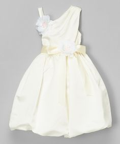 Cinderella Couture Ivory Asymmetrical Rosette Dress - Kids | zulily