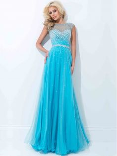 Sky Blue A Line Bateau Sleeveless Beaded Floor Length Tulle Prom Dress With Sequins