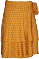 Women's Wraps Skirt Yellow Printed Premium Silk Sari Reversible Boho Short Skirts