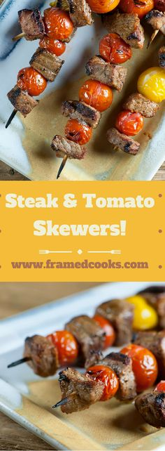 Jazz up your Fourth of July barbecue with this easy recipe for spicy, tender steak and cherry tomato skewers. They grill up in a flash! Weeknight Recipes, Grilling Recipes, Beef Recipes, Chicken Recipes, Cooking Recipes, Beef Skewers, Kebabs, Healthy Food, Healthy Eating