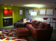 Contemporary Basement Photos Window Treatments Design, Pictures, Remodel, Decor and Ideas