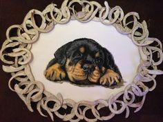 leuke rottweiler pup  materiaal is acrylverf. afmetingen ongeveer met lijst 41x54cm.