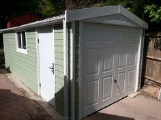 Apex concrete garage in PVCu timber effect cladding finish Concrete Garages, Terrace Garden, Prefab, Cladding, Garden Ideas, Garage Doors, Shed, Outdoor Structures, Outdoor Decor