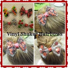 Clear vinyl shaker hair bows with video tutorial