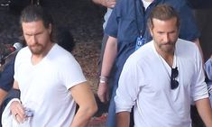 Bradley Cooper chats to his body double as they film A Star Is Born