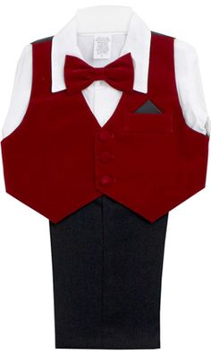 Baby Boy Red Velvet Vest Set with Red Bow Tie: This baby boy red suit vest set is perfect if you want to jazz things up this holiday season. This baby boys red suit vest set features a red velvet vest, black trousers, a white dress shirt, and the most adorable little red bow tie. If you are getting ready for holiday pictures, this is the sure winner for your baby boy. It is also a perfect outfit to mix and match with other baby clothes in his wardrobe for other occasions in the future.