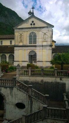 La scalinata e la Chiesa della Certosa di Vedana Belluno Dolomiti Veneto Italia