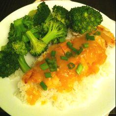 Gluten free lemon chicken and broccoli.