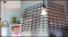Wire chandelier inspired by Anthropologie. Tutorial: http://ashleyannphotography.com/blog/2009/09/21/diy-anthropolgie-inspired-pendant-light/ #UnderTheSycamore