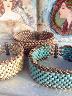 Peyote Stitch Beaded Bracelet ~ Stacking Rustic Boho Country Cuff ~Beadweaving Earthy Comfortable Clasp ~ Peyote Chic by Country Chic Charms
