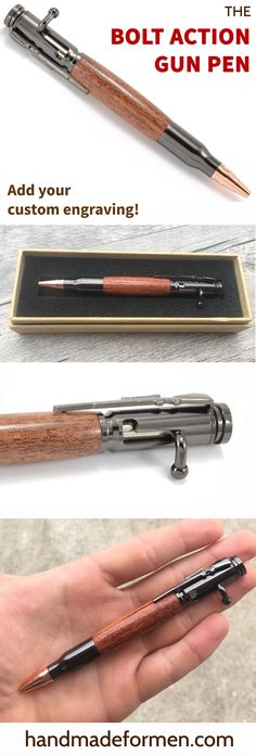 Great Gun Gifts for Him! This wood bolt action pen is the perfect gift for any…