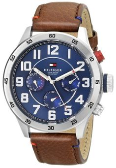 Tommy Hilfiger Men's 1791066 Stainless Steel Watch With Brown Synthetic-Leather Band