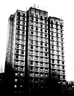 Block of flats in Leicester. I like the grubby marks around the windows from the pollution, nice geometric shapes