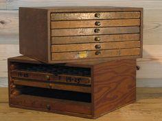 Vintage letterpress drawers, Provenance in Philadelphia