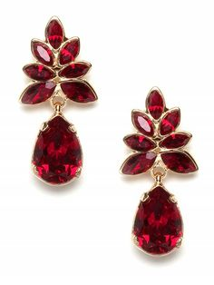 Ruby Earrings Swarovski Drop Crystal Dangle Red Gift For Her Jewelry