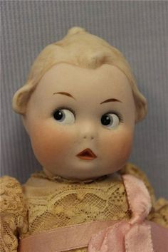 """9"""" Antique BISQUE GOOGLY With Top Knot c1914 Gebruder HEUBACH with SQUARE-MARK 