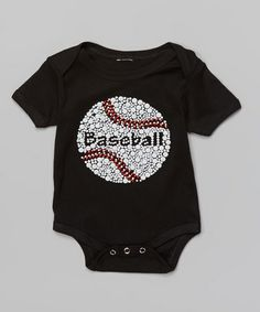 Loving this Black 'Baseball' Embellished Bodysuit - Infant on #zulily! #zulilyfinds