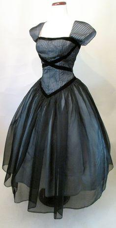 1950's Chiffon Shelf Bust Dress