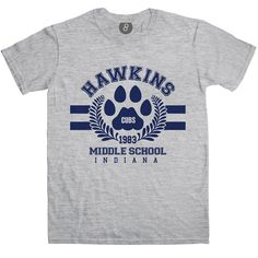 Hawkins Middle School - Stranger Things Inspired T shirt   8Ball T Shirts - The best thing about the awesome Stranger Things series in our opinion is the Goonies-like crew of Mike, Dustin, Lucas & Will. This tee pays homage to the school that the boys attend with an original Hawkins Middle School design which includes the Cubs motif seen on the school walls. Strictly for fans only, pay some subtle appreciation with this tee.