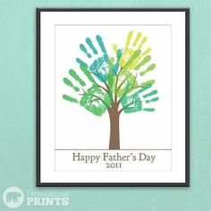 "Happy Father's Day Handprint Plaque - saw it and thought 'thankyou for helping us grow' ..or something. am now playing with the idea of ""watching them grow"" with the same card every year?"