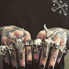 An epic TGF collection from @with_the_n From left to right: Medium Evil Skull Star Trucker Medium Kudu 13 ring Large Evil Skull Large Kudu Large Skull and Thorns and the All Seeing Eye. #thegreatfrog #thegreatfrogla #handmade #since1972 #silverjewelry