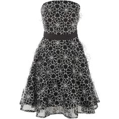 Black White Daisy Lace Prom Dress ($49) ❤ liked on Polyvore featuring dresses, daisy dress, black and white dress, black white cocktail dress, white and black lace dress and lace prom dresses
